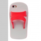 Creative Slipper Style Protective Silicone Back Case for Iphone 5 - Red + White
