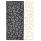Leopard Style Protective PU Leather + Plastic Case for Ipad MINI - Black + Beige