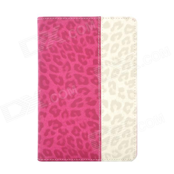 Leopard Style Protective PU Leather + Plastic Case for Ipad MINI - Deep Pink + Beige silk style protective pu leather plastic case for iphone 4 4s deep pink