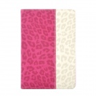 Leopard Style Protective PU Leather + Plastic Case for Ipad MINI - Deep Pink + Beige