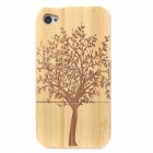 Retro Tree Pattern Protective Wooden Back Case for Iphone 4 / 4S - Yellow + Brown