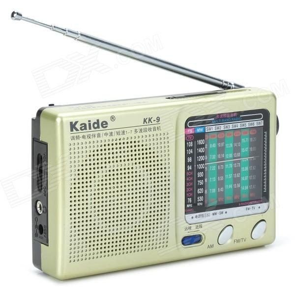 Kaide KK-9 Mini Digital Radio FM AM SW1~7 Receiver - Black + Champagne