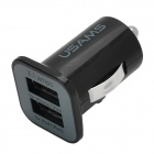 Dual-USB Car Cigarette Lighter Plug Power Adapter - Black