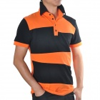 Stylish Cotton + Spandex Short Sleeves Polo Shirt T-shirt for Men - Black + Orange (L)