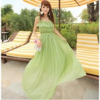 YLY-302-8187# Fashion Chiffon High-Waisted Long Dress for Women - Green (Size L)