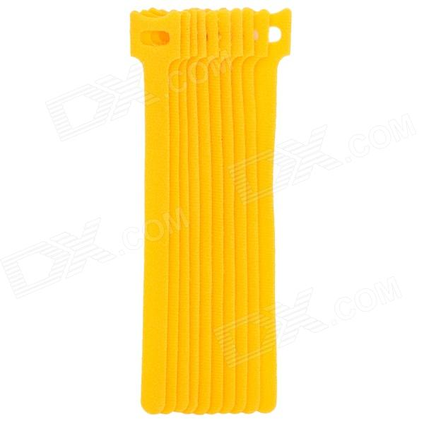 Ultra-thin 20cm Velcro Nylon Ethernet Cable Tie - Yellow (10 PCS)