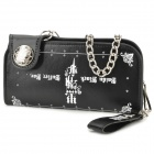 Fashion Folding PU Wallet Handbag w/ Keychain - Black