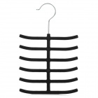 Portable Fleece + Plastic Necktie Storage Hanging Hook - Black