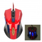 X8 USB 2.0 Wired 800 / 1200 / 1800 / 2400dpi Gaming Mouse w/ Indicators - Red + Black