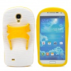 Creative Slipper Style Protective Silicone Back Case for Samsung Galaxy S4 i9500 - Yellow + White