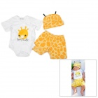 Doomagic Bee Style Cotton Baby / Infant Romper + Hat + Short Pants - Yellow + Orange + White (3PCS)
