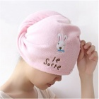 Super Fine Bamboo Fiber Hair Drying Towel Hat / Cap - Pink