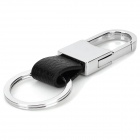Hanging Buckle PU Leather Keychain Ring - Silver + Black
