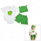 Doomagic Summer Frog Style Cotton Short Sleeve T-Shirt + Shorts + Cap Set - White + Green