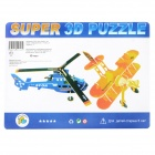 DIY 3D Dual Aircraft Paper & Foam Kids Education Puzzle Toy - Yellow + Blue