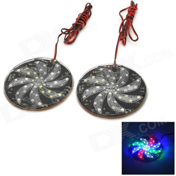 Decorativos 3W 30lm 40 SMD 3528 LED RGB Car Light Placas de disco (12V / 2PCS)