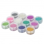12-in-1 Nail Art Acrylic Steel Ball Manicure Decoration Tips - Multicolored