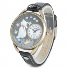 Cute Cat Round Dial PU Leather Band Quartz Watch for Women - Black (1 x 377)