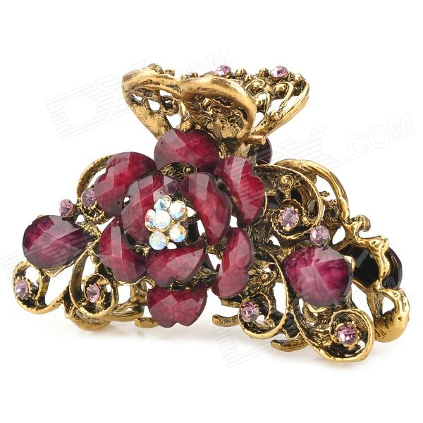Retro Flower Style Decorative Zinc Alloy + Rhinestones + Crystal Hair Clip - Golden + Fuchsia
