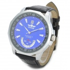 WINNER NBW0FA6515-BU3 Men's Self-Winding Mechanical Leather Band Wrist Watch w/ Calendar - Black