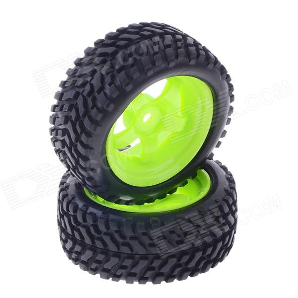 73mm Rubber Tyre Set for 1/10 RC On-Road Car -Black + Green (2 PCS) 1 10 rubber on road racing car model replacement tire black 4 pcs