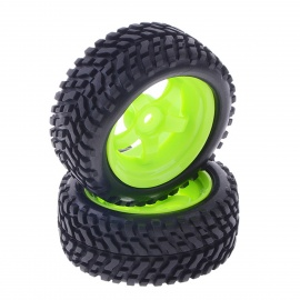 Conjunto de pneus de borracha de 73mm para carro on-road de 1/10 RC -Black + Green (2 PCS)