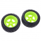73mm Rubber Tyre Set for 1/10 RC On-Road Car -Black + Green (2 PCS)
