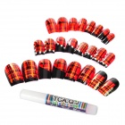 J-1042 Crystal 3D Scottish Style Decorative Nail Tip w/ Glue - Red + Black + Silver (24 PCS)