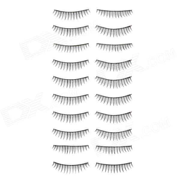 ZX-103 Man-Made Fiber Natural Artificial Eyelashes Set - Black (10 Pairs)