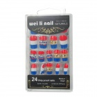 Shiny Crystal 3D Decorative Nail Tip w/ Glue - Multicolor (24 PCS)