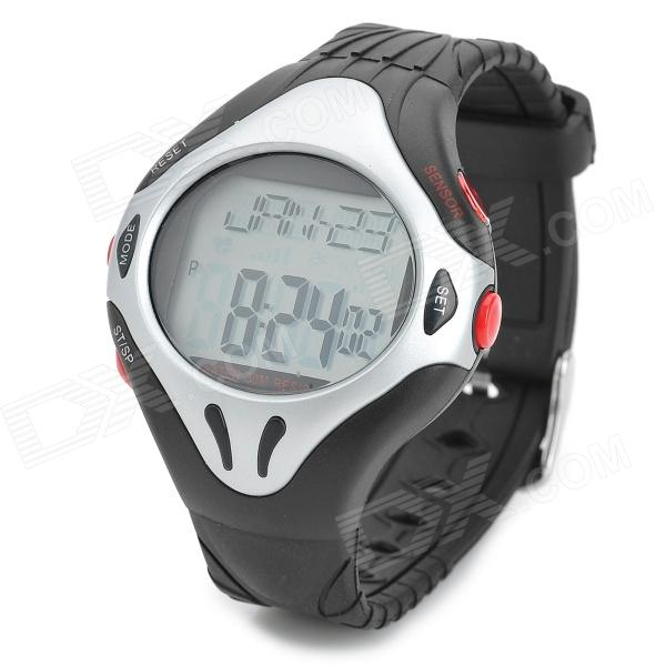 D007 Pulse Heart Rate Monitor Calories Counter Fitness Digital Watch - Black + Silver (1 x CR2032) d007 pulse heart rate monitor calories counter fitness digital watch black silver 1 x cr2032