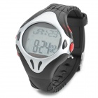 D007 Pulse Heart Rate Monitor Calories Counter Fitness Digital Watch - Black + Silver (1 x CR2032)