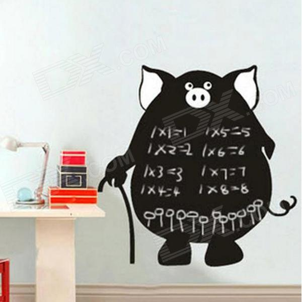 Aomei 0146 Cute PVC Pig Shape Removable Reusable Blackboard Wall Sticker - Black (60 x 60cm)