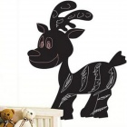 Aomei 0147 Cute PVC Fawn Shape Removable Reusable Blackboard Wall Sticker - Black (60 x 50cm)