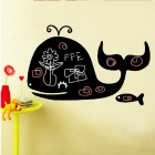 Cute PVC Whale Shape Removable Reusable Blackboard Wall Sticker - Black (60 x 95cm)