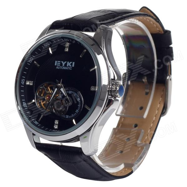 EYKI EFL8629G Fashion Hollow PU Band Mechanical Analog Wrist Watch for Men - Black + Silver solid scrub stainless steel brushed black gold silver rose gold finished watch band clasp buckle watchbands 16 18 20mm 24mm 26mm