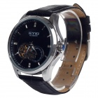 EYKI EFL8629G Fashion Hollow PU Band Mechanical Analog Wrist Watch for Men - Black + Silver