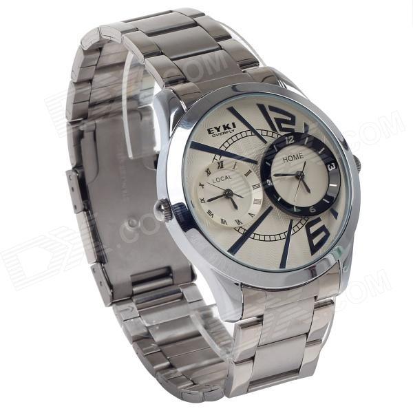 EYKI W8443AG Stainless Steel Band Quartz Analog Wrist Watch for Men - Silver + White (1 x LR626) fashion stainless steel quartz analog wrist watch for women silver blue 1 x lr626