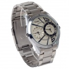 EYKI W8443AG Stainless Steel Band Quartz Analog Wrist Watch for Men - Silver + White (1 x LR626)