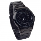 EYKI W8443AG Stainless Steel Band Quartz Analog Wrist Watch for Men - Black + White (1 x LR626)
