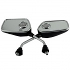 Motorcycle Rearview Mirror MP3 Player Speakers w/ FM / SD/ Alarm Remote Controller - (Pair / DC 12V)