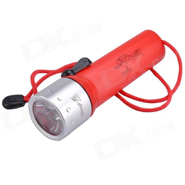 SingFire SF-603B 110lm 2-Mode Waterproof Diving Flashlight w/ CREE XR-E Q5 - Red + Silver (4 x AA) singfire sf 117e 180lm 3 mode white zooming flashlight w cree xr e q5 red 1 x aa 14500