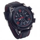 Super speed V6 V0185 Stylish Silicone Band Quartz Analog Wrist Watch for Men - Black (1 x LR626)