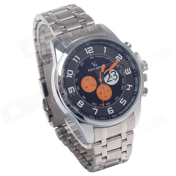 Supper Speed V6 A003 Stainless Steel Wristband + Six Stitch Stopwatch + Arabic Numberal Time Scale