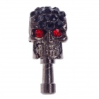 Stylish Skull Style Rhinestone + Albronze 3.5mm Anti-dust Plug for Iphone 4S + More - Silver Black