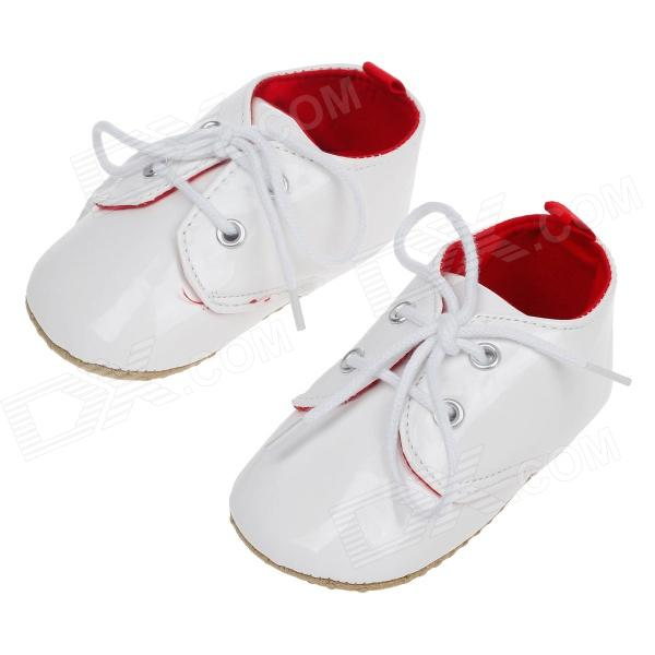 Fashionable And Cute Soft PU Baby Shoes White 3 6