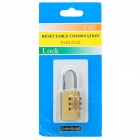 CR-03A Resettable Security 3-Digit Combination Padlock - Golden + Silver