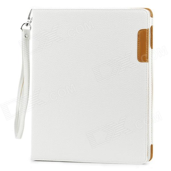 Lychee Pattern 360 Degree Rotation PU Leather Case for Ipad 2 / 3 / 4 - White ipad 4 in 1 photo lens