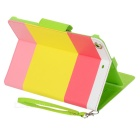 Colorful Protective PU Leather Case for Ipad MINI - Yellow + Pink + Green