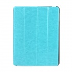 Stylish Flip-open Protective PU Leather Case w/ Stand for Ipad 3 / 4 - Blue